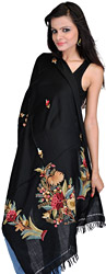 Jet-Black Kashmir Stole with Ari Hand-Embroidered Flowers