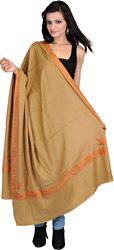 Lark-Colored Plain Kashmiri Shawl with Ari-Emboridered Border by Hand