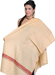 Golden-Straw Plain Kashmiri Stole with Sozni Emboridered Border