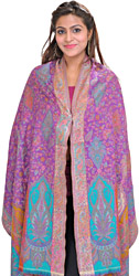 Kani Jamawar Stole with Woven Flowers