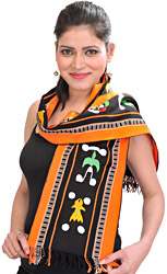 Black and Orange Scarf from Nagaland with Embroidered Auspicious Motifs