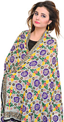 Hand Embroidered Phulkari Dupatta from Punjab with Sequins