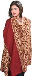 Shawl from Amritsar with Ari-Embroidered Paisleys All-Over