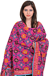 Phulkari Dupatta from Punjab with Hand-Embroidered Flowers and Sequins