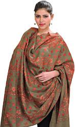 Kashmiri Tusha Shawl with Sozni Hand-Embroidered Maple Leaves