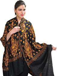 Kashmiri Tusha Shawl with Sozni Hand-Embroidered Maple Leaves