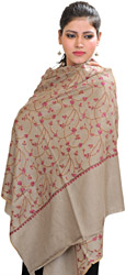 London-Fog Kashmiri Tusha Stole with Sozni Hand-Embroidered Flowers