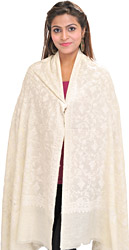Ivory Kashmiri Shawl with Ari Hand-Embroidered Paisleys