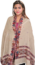 Simply-Taupe Stole From Amritsar with Woven Kullu Palla