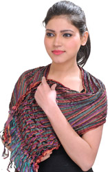 Multicolor Crushed Scarf with Woven Stripes