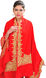 Plain Shawl From Amritsar with Beads and Embroidered Paisleys on Border