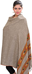Fungi-Colored Kullu Shawl with Woven Kinnauri Triple Border