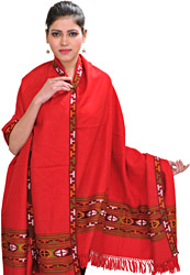 Lollipop-Red Shawl from Kullu with Kinnauri Woven Border
