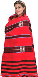 Tomato-Red Heavy Shawl from Nagaland with Woven Flowers