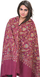Violet-Quartz Kashmiri Pashmina Shawl with Sozni Hand-Embroidery All-Over