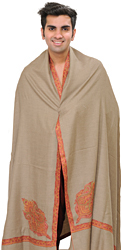 Simply-Taupe Plain Pashmina Dushala (Lohi) for Men with Sozni Embroidery on Border