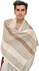 Egret-White Men's Cashmere Scarf from Nepal with Woven Stripes