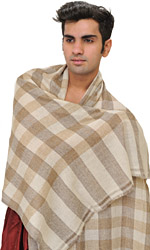 Snow-White Cashmere Scarf from Nepal with Woven Checks