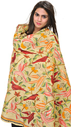 Chino-Green Kantha Dupatta from Bengal with Embroidered Birds