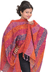 Multi-Color Jamawar Reversible Stole with Woven Flowers