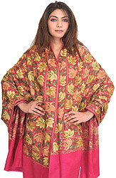 Shawl from Amritsar with Ari Embroidered Maple Leaves All-Over