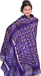 Bandhani Tie-Dye Gharchola Dupatta from Gujarat with Golden Thread Weave