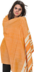 Peach Shawl from Kutch with Thread Weave on Border