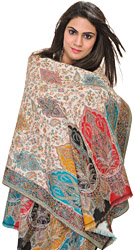 White Kani Jamawar Stole with Woven Leaves in Multi-Color Thread