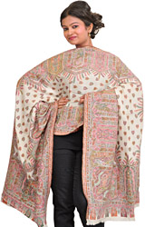 Pristine-White Kani Jamawar Stole with Woven Flowers