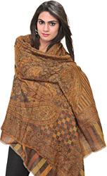 Honey-Yellow Cashmere Jamawar Reversible Stole with Woven Paisleys