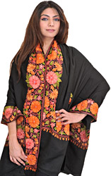 Jet-Black Shawl from Kashmir with Ari Embroidered Flowers