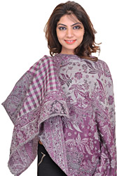 Gray and Purple Reversible Cashmere Stole with Woven Flowers and Paisleys