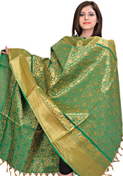 Bosphorus-Green Brocaded Dupatta from Tamil Nadu with Woven Lotuses All-Over