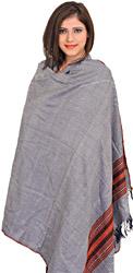 Shawl from Kullu with Thread Weave All-Over and Kinnauri Border