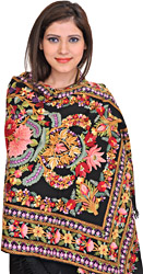 Jet-Black Kashmiri Stole with Floral Ari-Embroidery by Hand