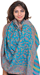 Kani Stole with Woven Paisleys in Multi-color Thread
