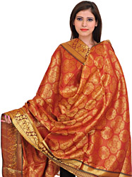 Etruscan-Red Brocaded Shawl from Tamil Nadu with Woven Flowers