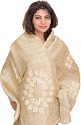 Cloud-Cream Dupatta from Jharkhand with Applique Leaves