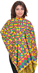Bamboo-Yellow Phulkari Embroidered Dupatta from Punjab with Sequins