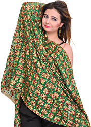 Dupatta from Punjab with Phulkari Embroidered Flowers All-Over
