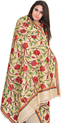 Albaster-Gleam Dupatta from Kolkata with Kantha-Embroidered Roses by Hand