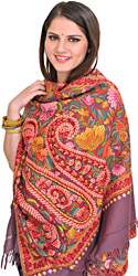 Grape-Shake Stole from Kashmir with Ari Hand-Embroidered Flowers and Paisleys All-Over