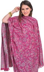 Reversible Jamawar Shawl from Amritsar with Woven Paisleys