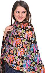 Jet-Black Stole from Amritsar with Ari Embroidery in Multicolor Thread