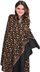 Jet-Black Kashmiri Pure Pashmina Shawl with Sozni Embroidered Paisleys by Hand