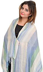 Tri-Color Stole with Woven Stripes