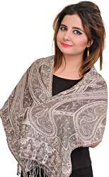 Sparrow and Gray Reversible Jamawar Scarf with Woven Paisleys