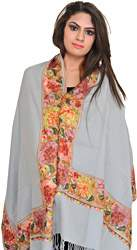 Plain Stole from Amritsar with Ari Embroidered Flowers on Border