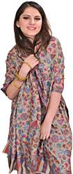 Smoke-Gray Cashmere Kani Stole with Woven Paisleys in Multicolor Thread