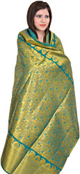 Cadmium-Green Brocaded Shawl from Tamil Nadu with Woven Flowers